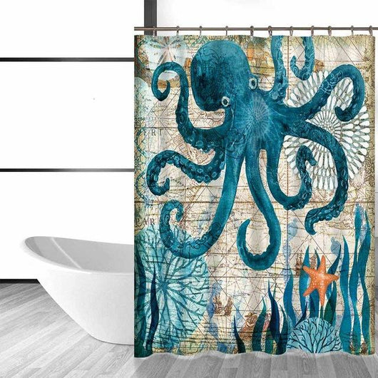 Marine Animals Waterproof Shower Curtain 4 Variations Available