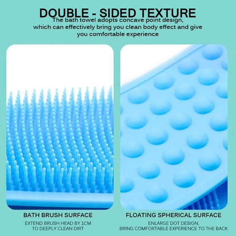 Silicone Dual Sided Back Scrubber Massaging Shower Strap Body Back Washer Bath Cleaning Bathroom Tools:ThinkandBuys