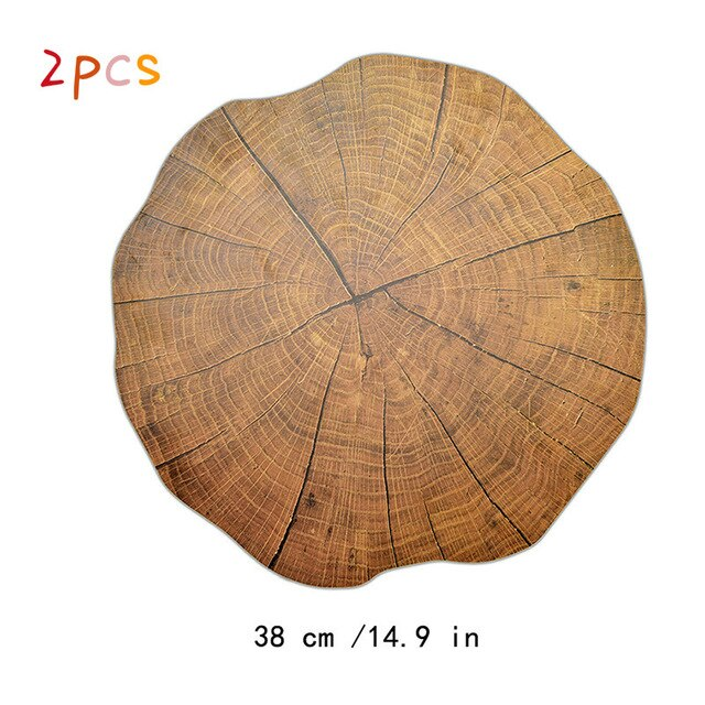 Dining Tableware PP Materials Wood Grain Pad Dining Table Mats