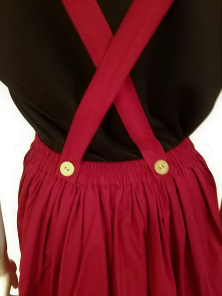 Red skirt with suspenders