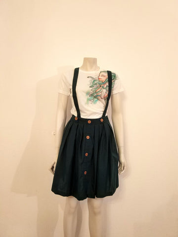 Green skirt with suspenders - Nili`s