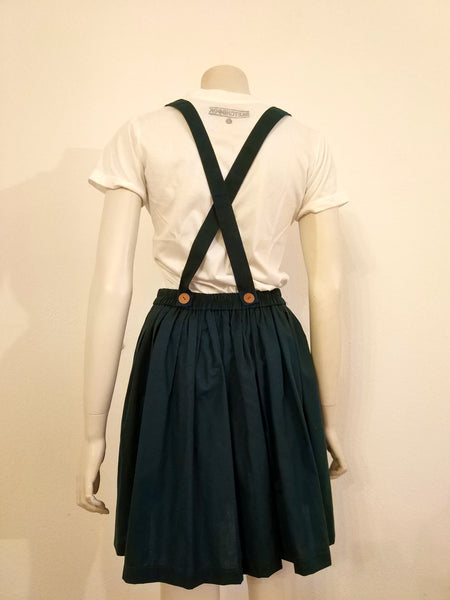 Green skirt with suspenders