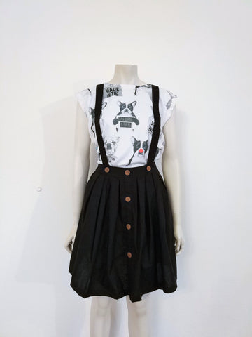 Black skirt with suspenders