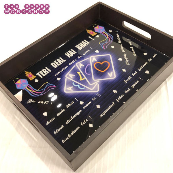"Diwali Taash Party Tray - 13"" x 10"" x 2"" - FREE SHIPPING"