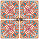 Orange Boho Coasters - Set of 4