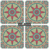 Green Boho Coasters - Set of 4
