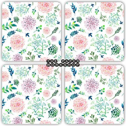 Pink Floral Coasters - Set of 4