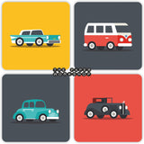 Vintage Cars Coasters - Set of 4