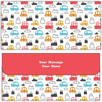 Cute Cars Cash Envelopes - Set of 50