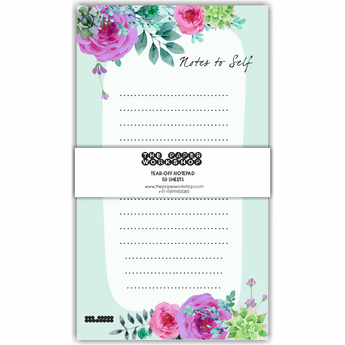 Blue Floral Tear-Off Notepad