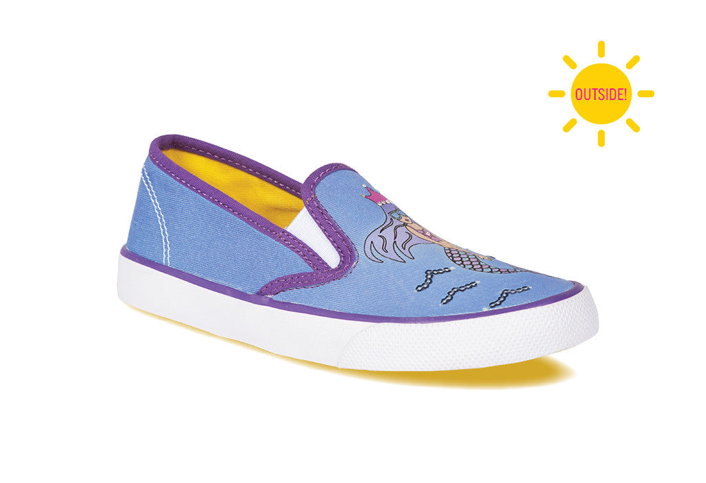 ... Girls slip-on sneaker with a mermaid design that changes color in the  sun ...