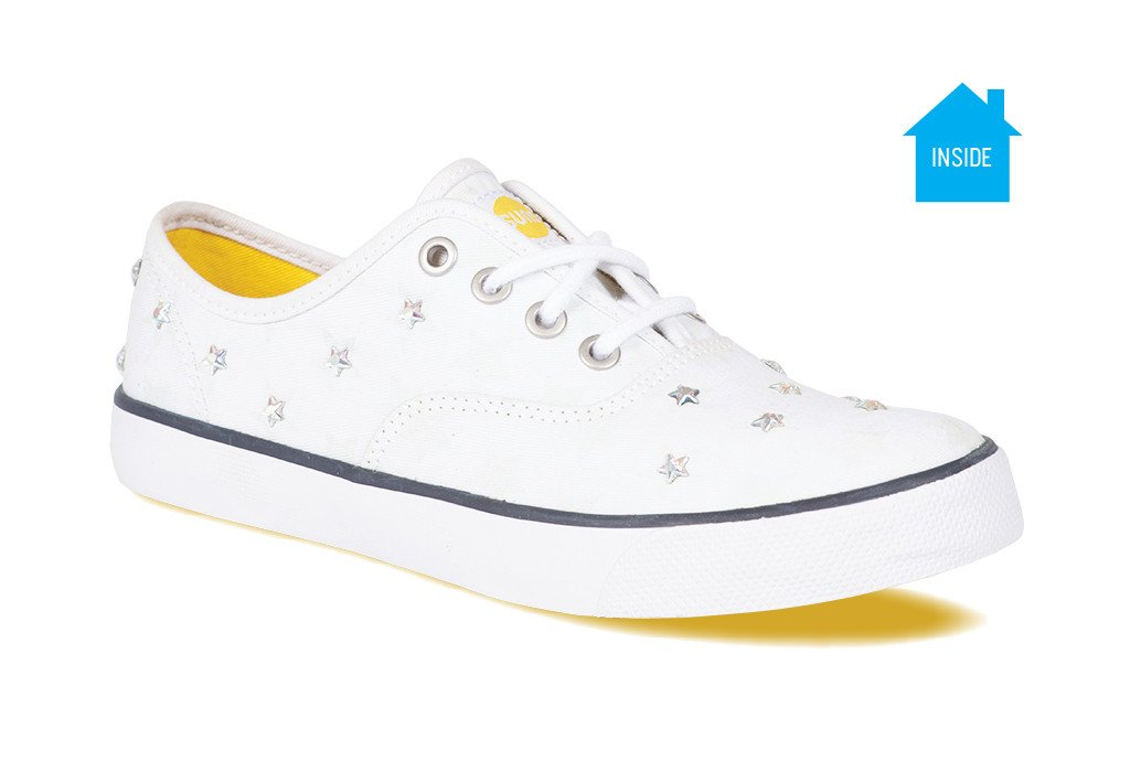 f4349807a0d704 Womens casual CVO sneaker with silver rhinestones and blue stars that  change color ...