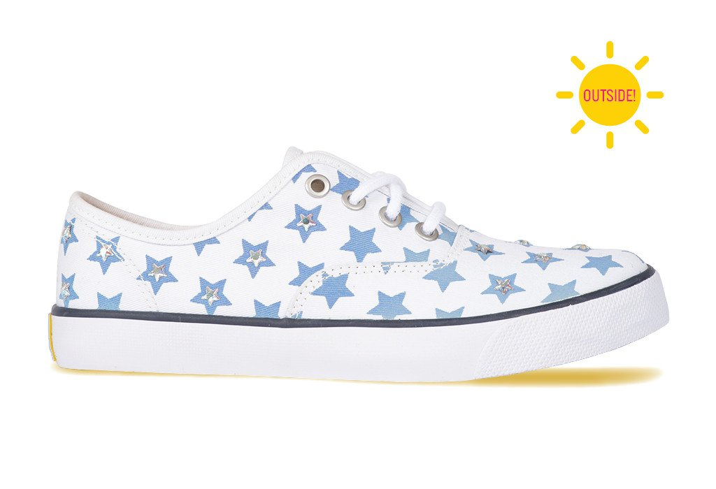 5bfe0b4722b22e ... Womens casual CVO sneaker with silver rhinestones and blue stars that  change color ...
