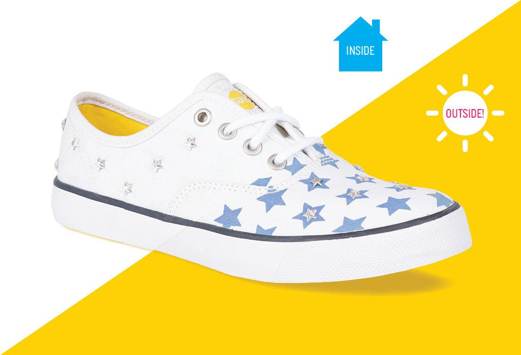 Womens casual CVO sneaker with silver rhinestones and blue stars that change color