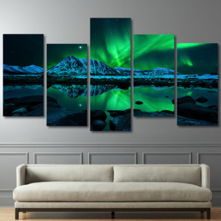 Green Aurora Lake Canvas