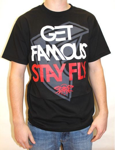 FAMOUS STARS /& STRAPS STAY FLY  BLACK MENS T SHIRT
