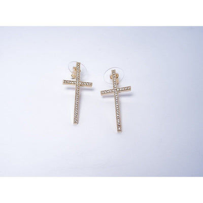 Alaina Rhinestone Cross Earrings