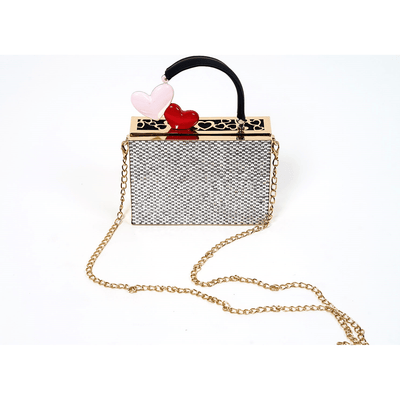 Ava Double Heart Rhinestone Handbag