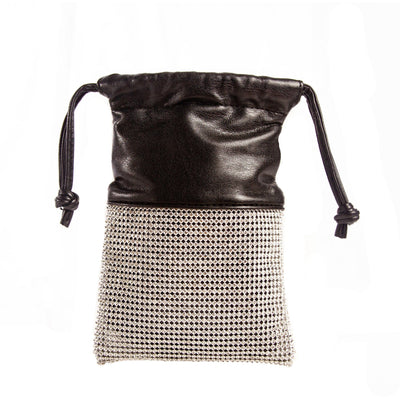 Danica black and rhinestone drawstring crossbody