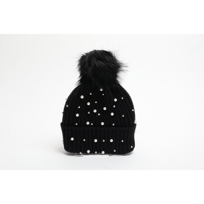 Pearl and stud detachable pom pom beanie (4 Colors)