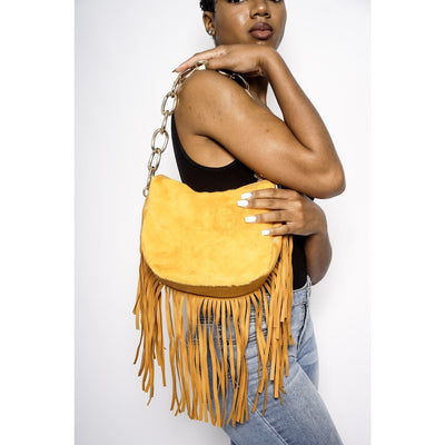 Reeba faux fur and fringe handbag