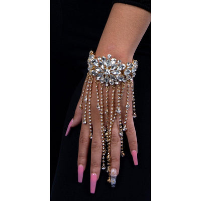 Wrapped in Opulence Dangling Rhinestone Cuff Bracelet Bracelet Fearless Accessories