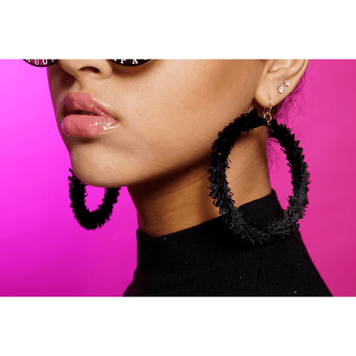Charli Black Hoop Earrings