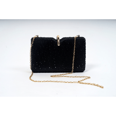 Rani Rhinestone Clutch Handbags Fearless Accessories Black