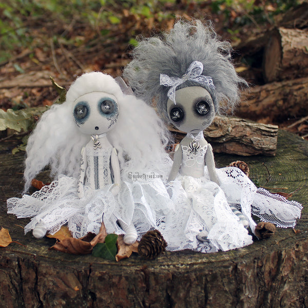 Ghostly gal pals - creepy cute button eyed art dolls by Jo Hards