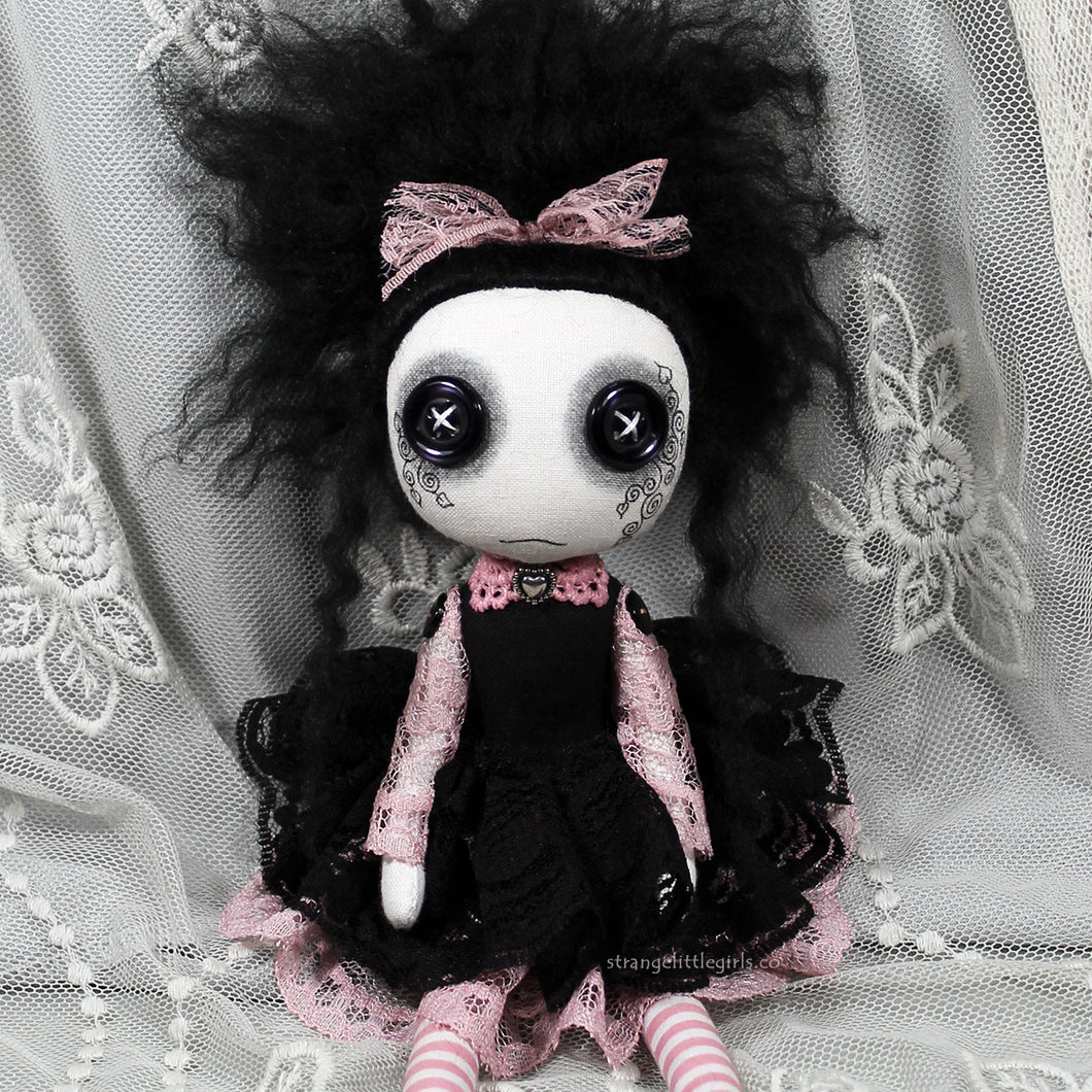 Button eyed, creepy cute, Gothic cloth art doll in black and dusky pink - Bryony Wildvine by Strange Little Girls