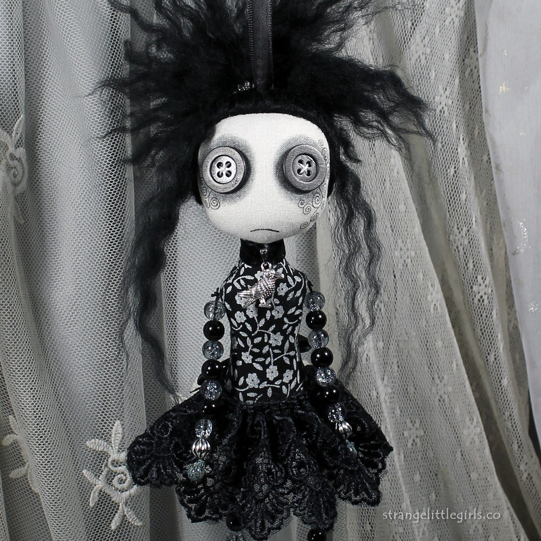 Beaded, hanging Gothic at doll by Jo Hards - Beady Dolls - Cordelia