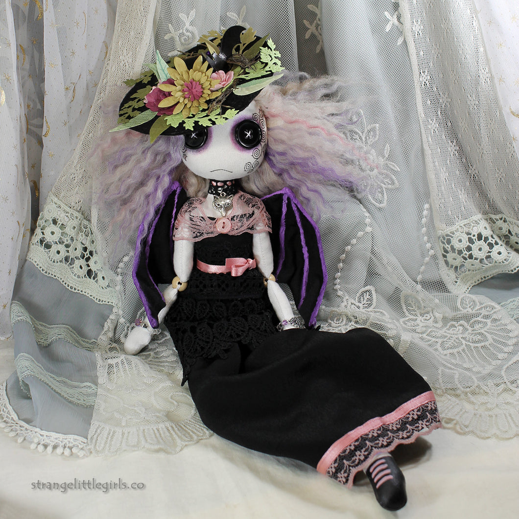 OOAK Gothic, dark angel, art doll with button eyes, in Edwardian style dress by vegan artist Jo Hards