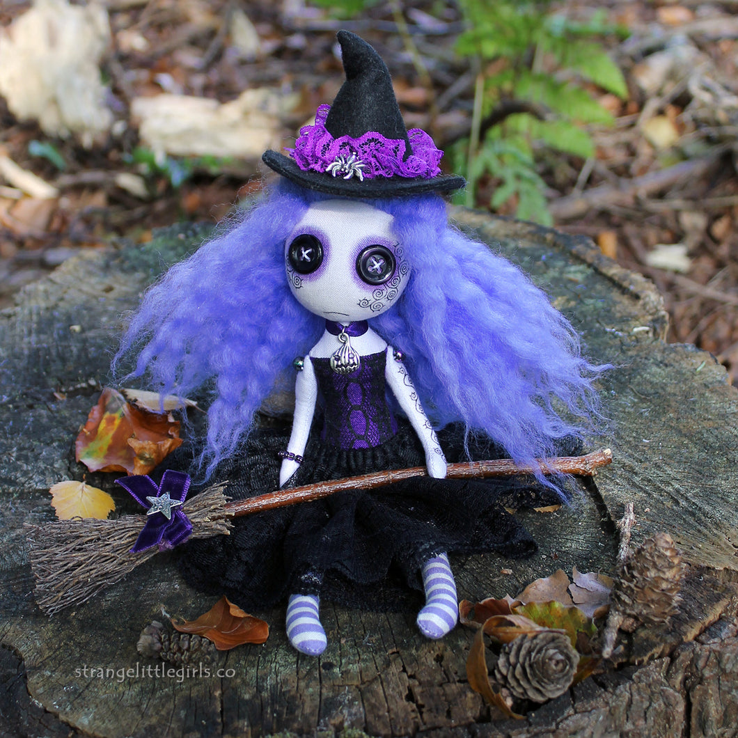 Creepy cute, button eyed witch doll in purple and black - Mallory Broomstick