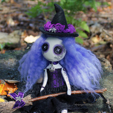 Creepy cute, button eyed witch doll in purple and black, with tattoo and crooked hat - Mallory Broomstick