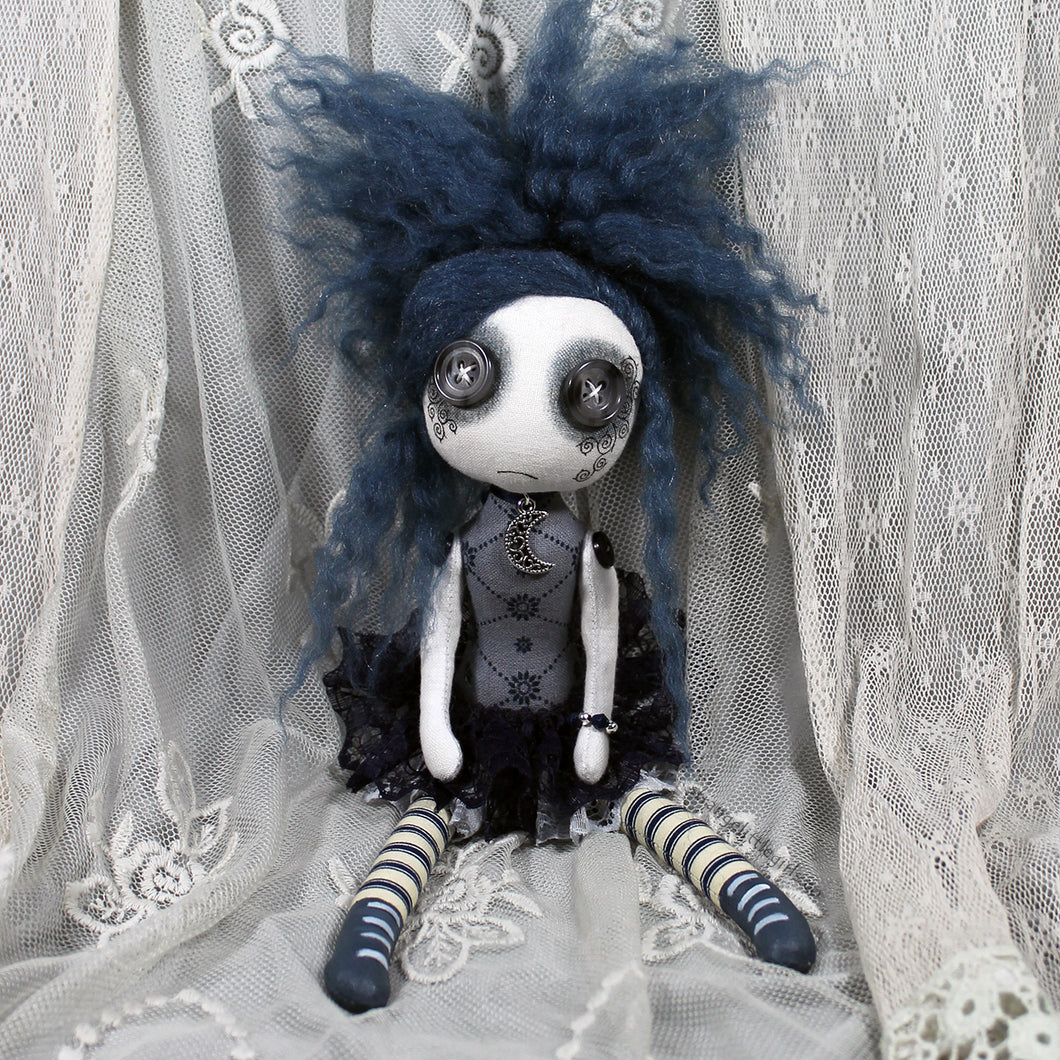 Button eyed Gothic cloth art doll in blue and grey with moon necklace. Marta Bluemoon by Strange Little Girls