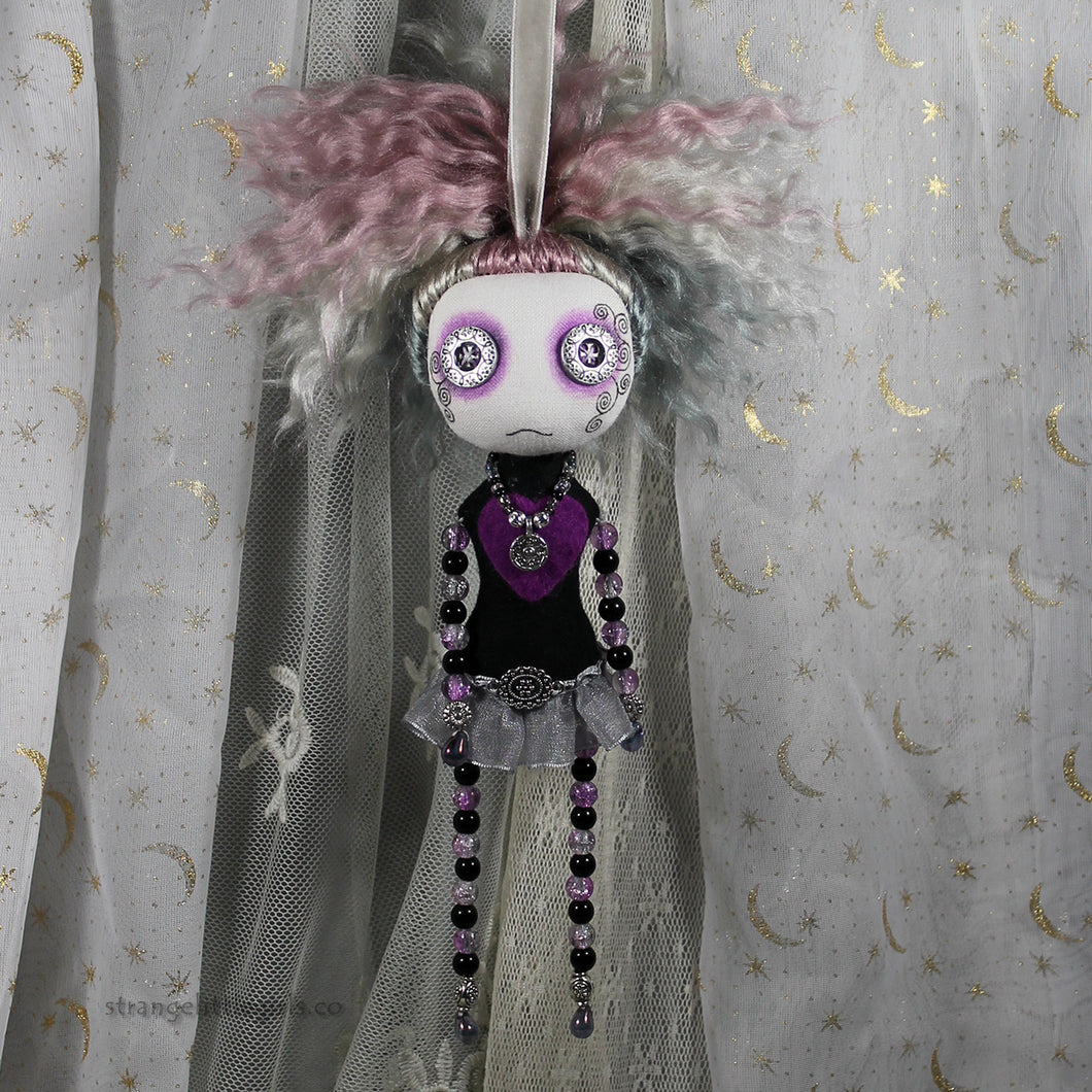 Beaded cloth art doll in purple - Vita Beady by vegan textile artist Jo Hards