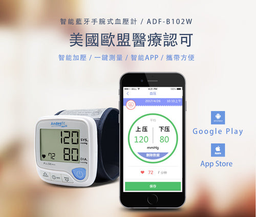 Bluetooth 4.0 Wrist Type Blood Pressure Monitor 智能藍牙手腕式血壓計