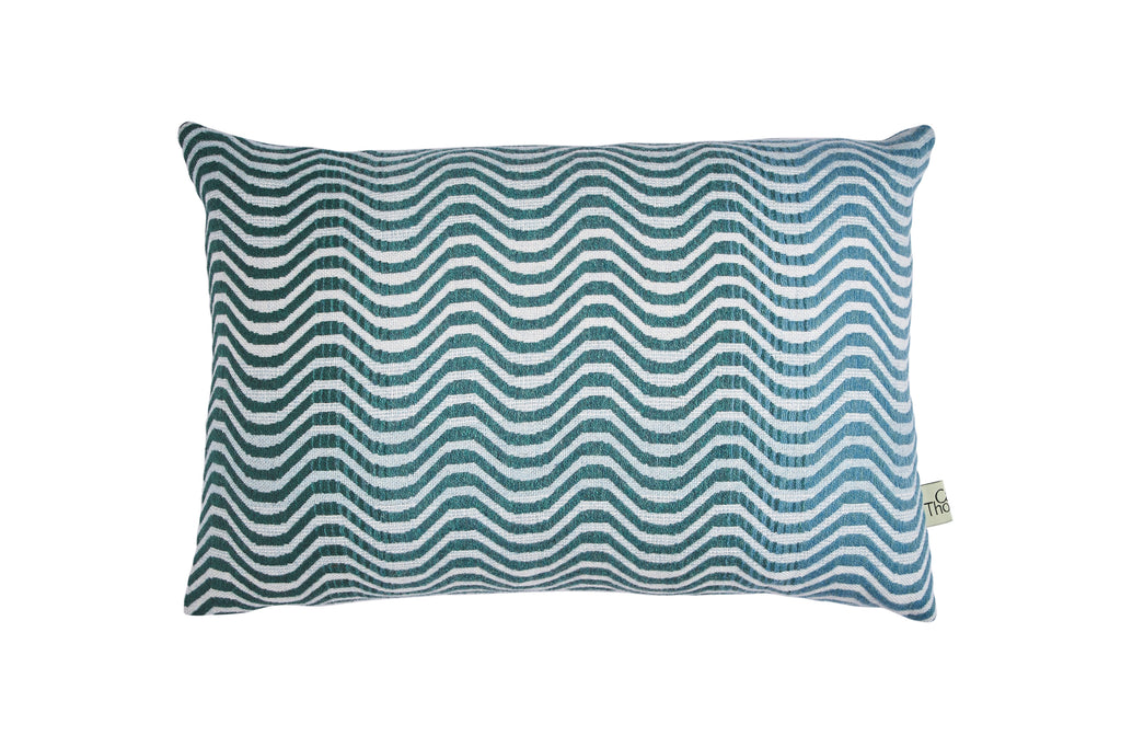 sea green ripple cushion no.1 blue back