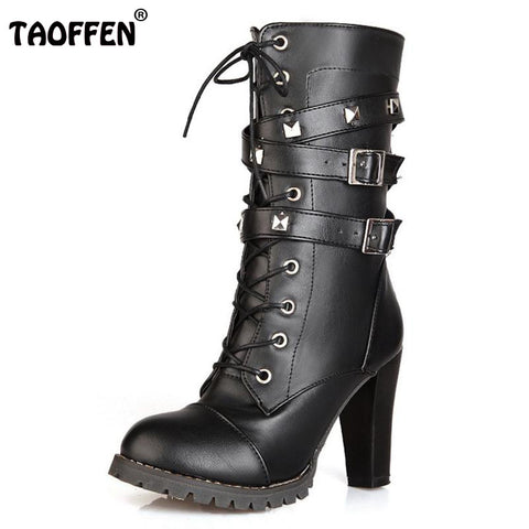 Womens High Heel Leather Boots