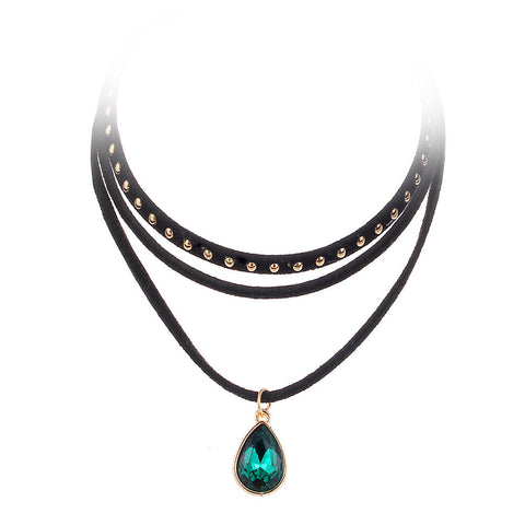 Black Velvet Choker With Green Crystal Pendant