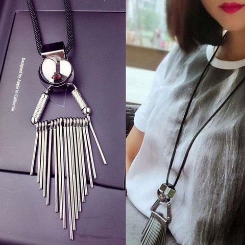 Tassel Silver And Leather Necklace