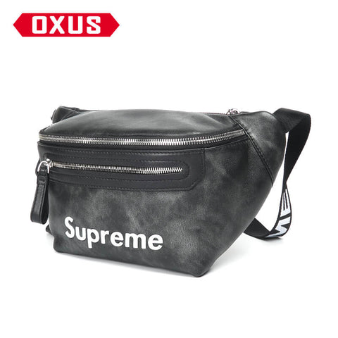 New Arrival SUPREME brand waist bag men's leather multi-function large capacity  X907750001