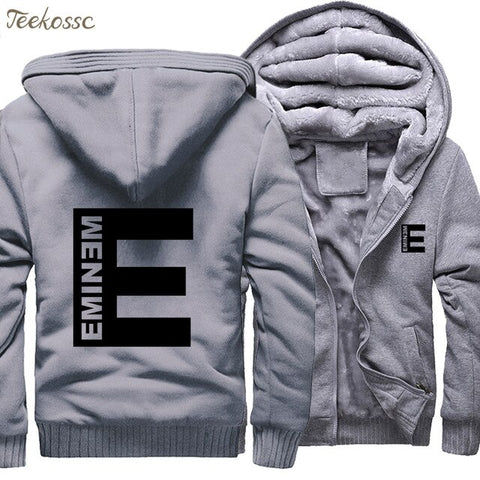 Eminem Hoodie Men Punk Rock Hooded Sweatshirt Kpop Coat New Fashion Winter Thick Fleece Warm Zipper Jackets Hip Hop Streetwear