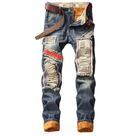 Denim Designer Hole Jeans High Quality Ripped for Men Size 28-38 40 2019 Autumn Winter Plus Velvet HIP HOP Punk Streetwear