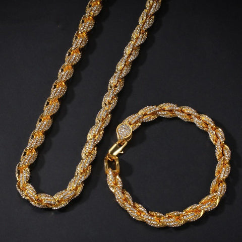 Rope Chain Necklace & Bracelet Set (9 mm)