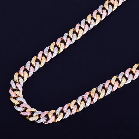 Mixed Color Cuban Chain Necklace (12mm)