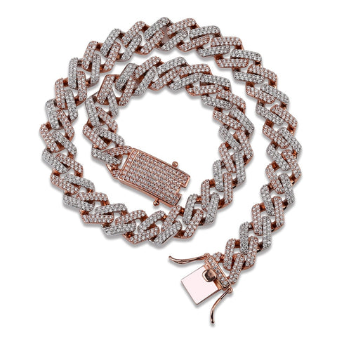 Cubic Zirconia Cuban Link Necklace (14mm)