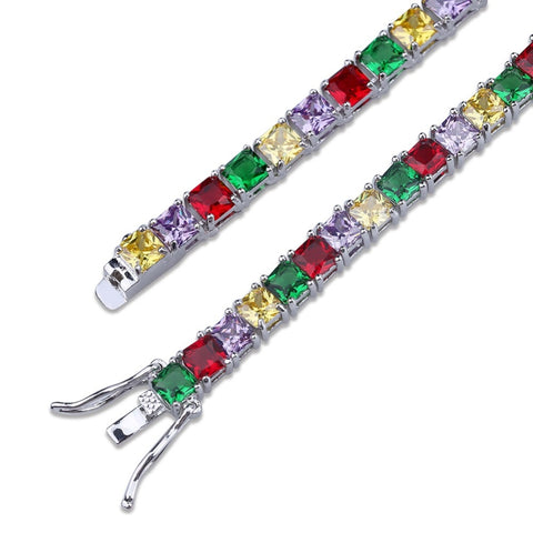 Single Row Colorful CZ Tennis Bracelet (5mm)
