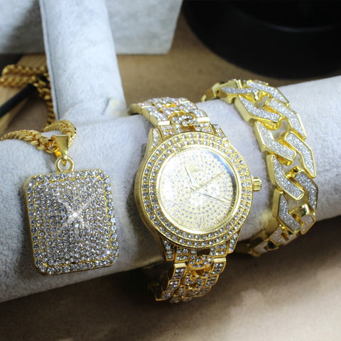 Image of Iced Out Lab CZ Watch & Bracelet & Square Pendant Necklace