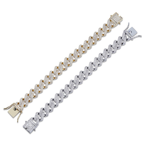 Image of Cubic Zirconia Cuban Link Bracelet (14mm)